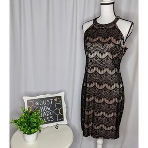GUESS Halter Pink and Black Lace Cocktail Dress